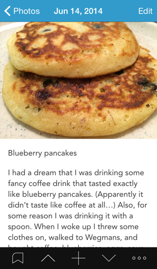 A screenshot of a Day One entry with a photo of blueberry pancakes and a description of a dream from the previous night
