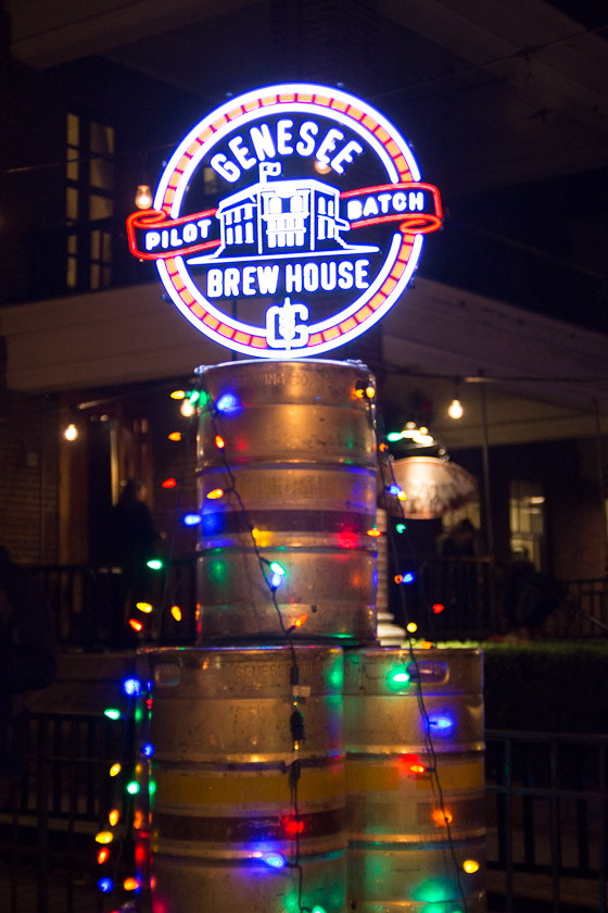 A Genesee display in front of the Dragonfly Tavern during the Park Avenue Holiday Open House