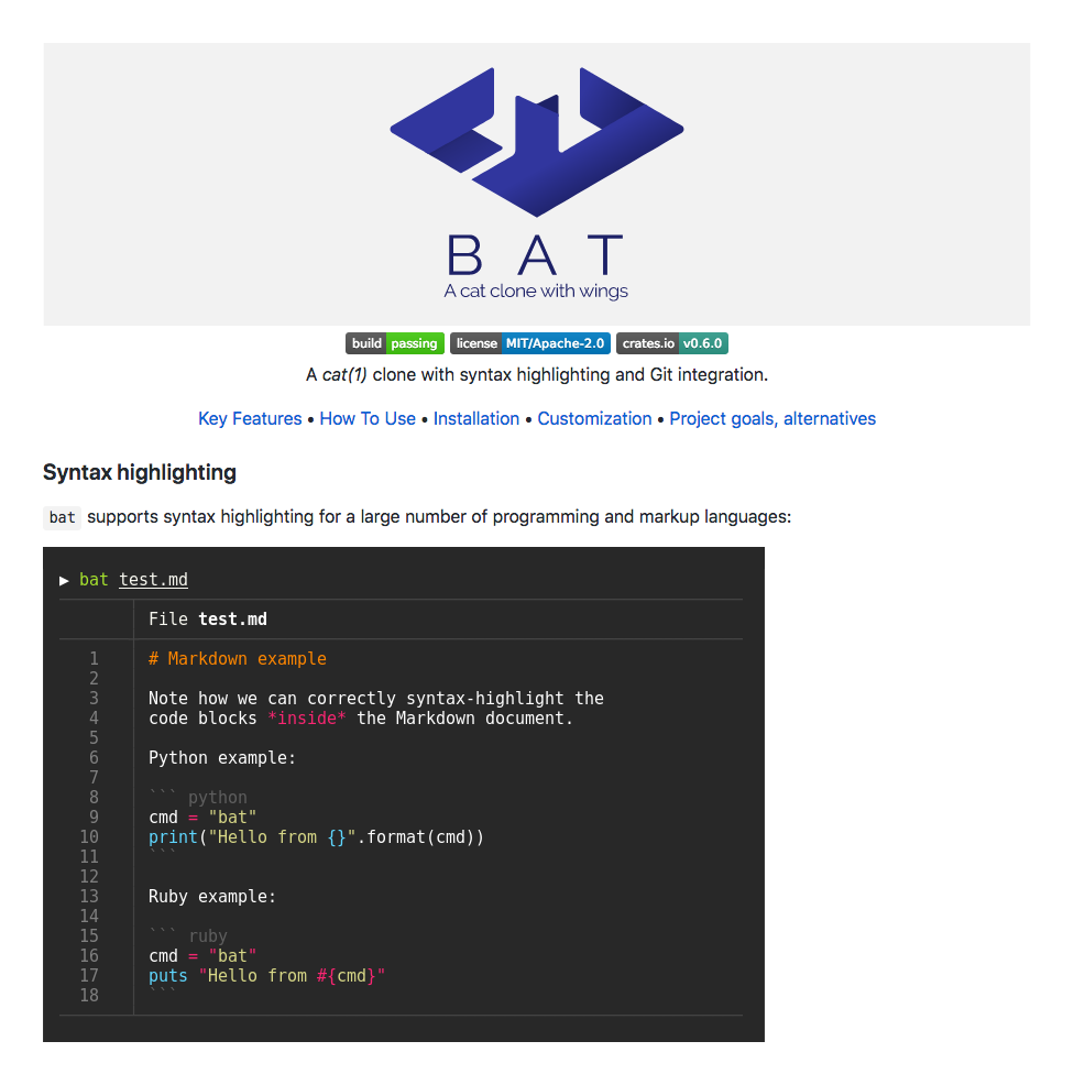 Screenshot of the project page for bat, a clone of the Unix cat tool that supports syntax highlighting and Git integration