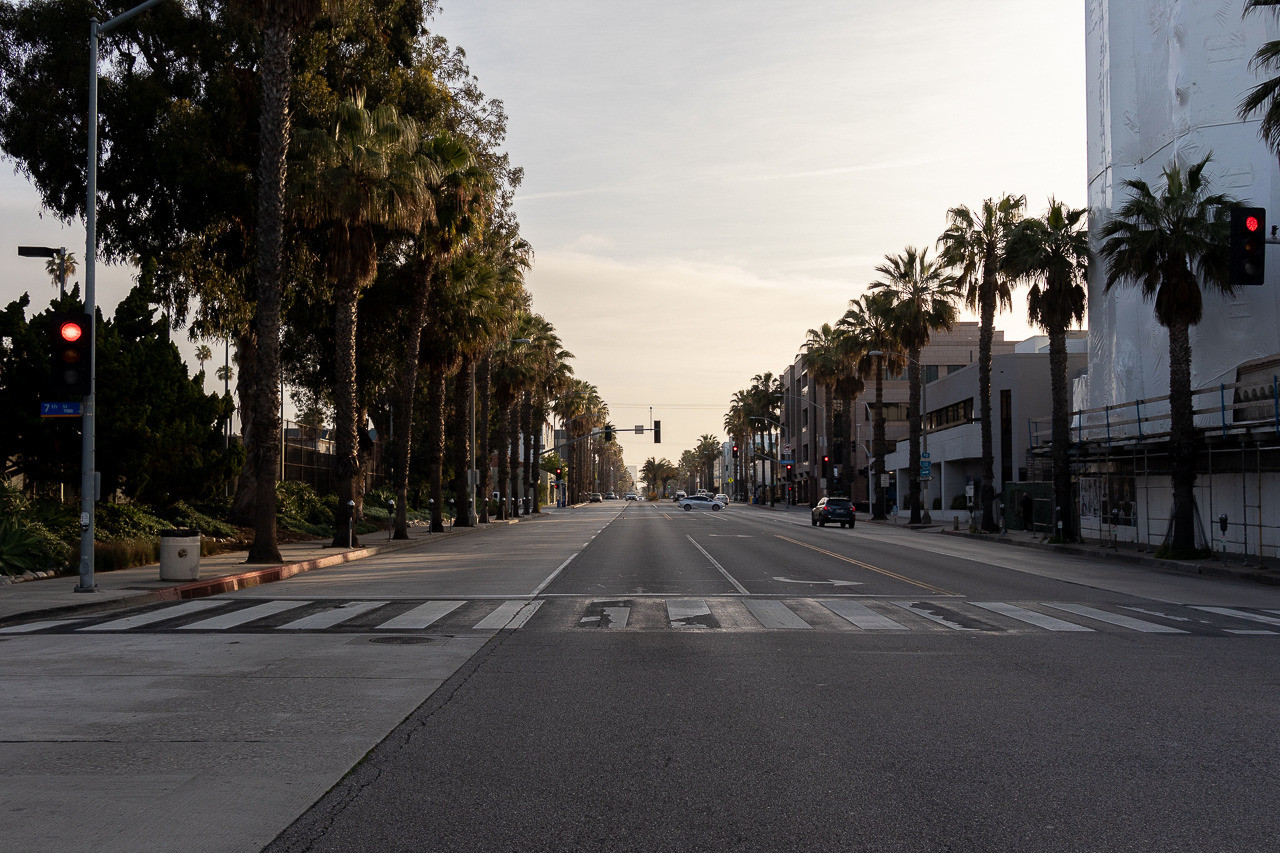 View down Wilshire Boulevard in the early morning.